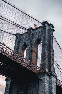 Closeup of Brooklyn Bridge.