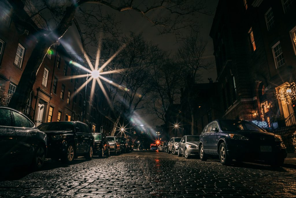 Parked cars at night.