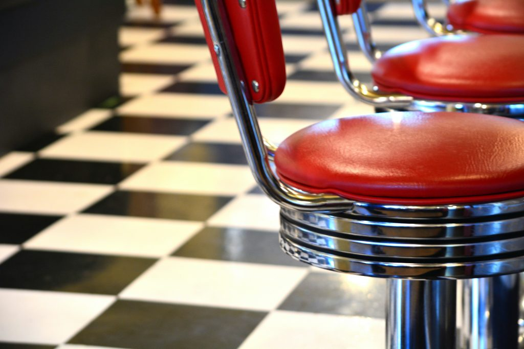 Red diner cushion chair.