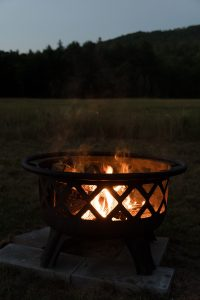 Bowl fire pit with screen.