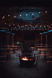 Fire pit in a restaurant.