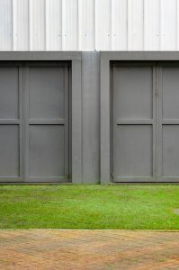 Gray garage doors.