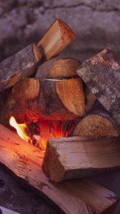 Wood fire pit.
