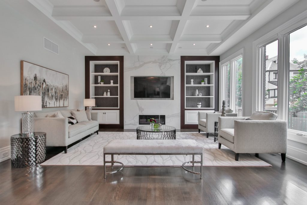 Big white living room.