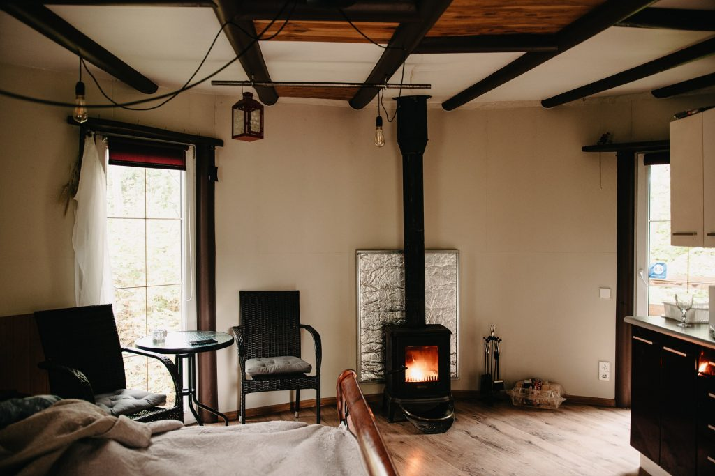 Stove in a room.