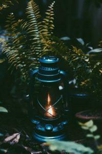 Blue kerosene lamp.