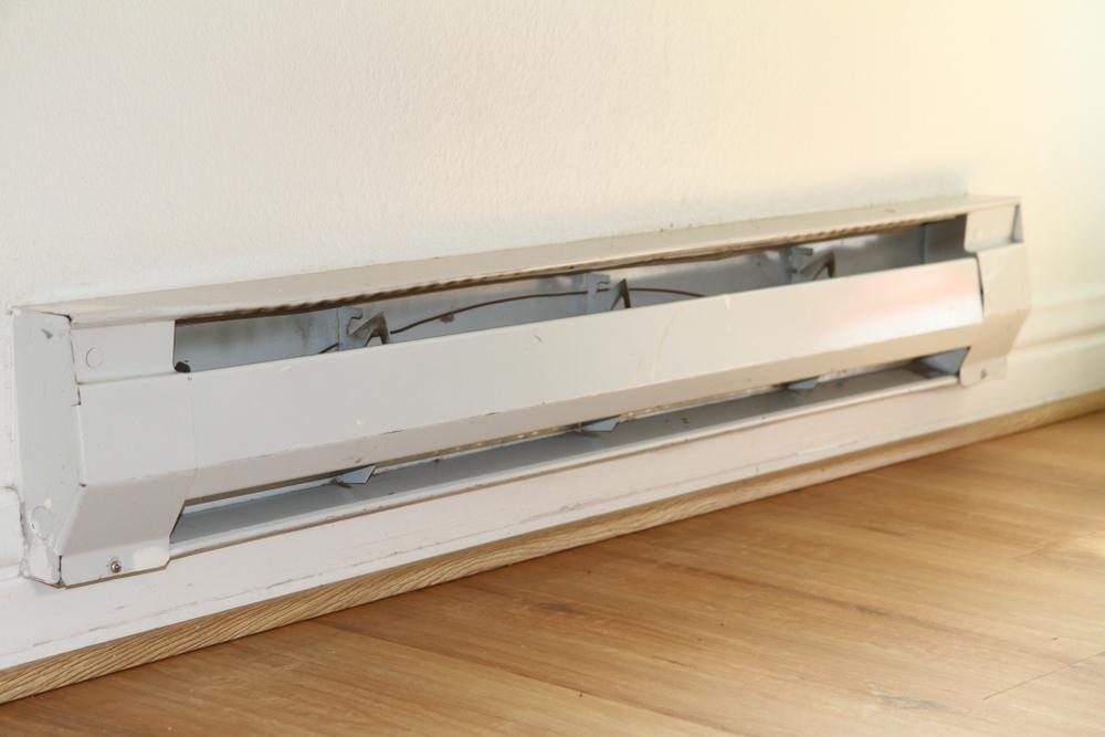 White baseboard heater.