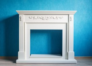 White fireplace frame.